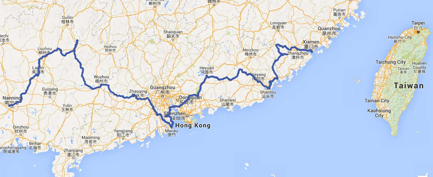 Map of nanning to Xiamen