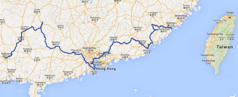 Map of nanning to Xiamen